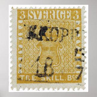 Sello raro de Skilling del amarillo 3 de Suecia 18 Póster