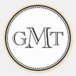 Sello real de la elegancia del monograma de la etiqueta redonda