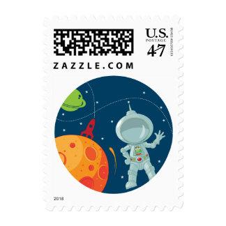 Sello redondo del astronauta del espacio exterior