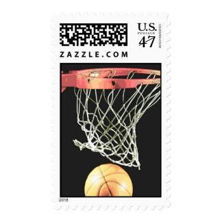Sello retro del baloncesto del estilo