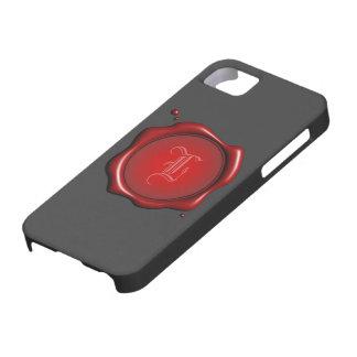 Sello rojo de la cera con la plantilla de la funda para iPhone SE/5/5s