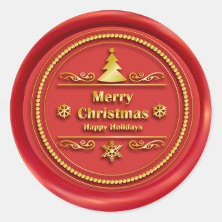 Sello rojo de la cera de las Felices Navidad Pegatina Redonda
