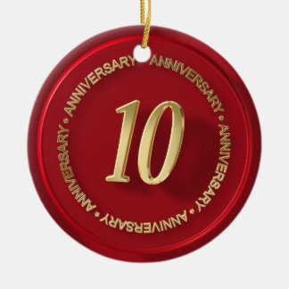 sello rojo de la cera del 10mo aniversario ornamento de navidad