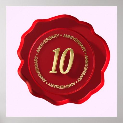 sello rojo de la cera del 10mo aniversario impresiones