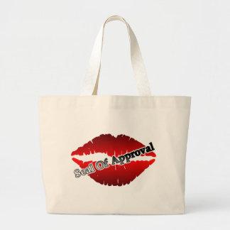 Sello rojo de los labios de la aprobación bolsa tela grande