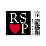 Sello rojo del corazón de RSVP