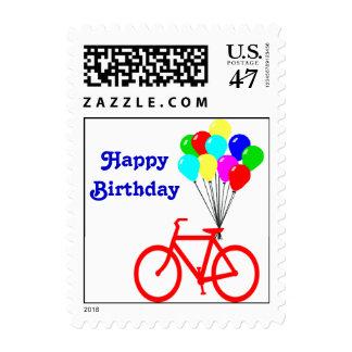 Sello rojo del globo de la bici del feliz