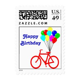 Sello rojo del globo de la bici del feliz cumpleañ