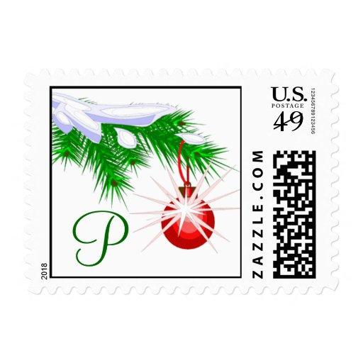 Sello rojo del navidad del ornamento del monograma