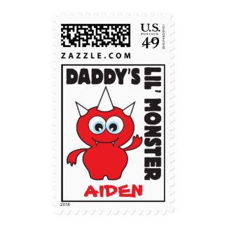 Sello rojo del pequeño monstruo del papá