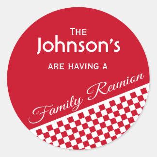 Sello rojo del sobre de la reunión de familia del etiquetas redondas