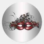 Sello rojo elegante del sobre de la plata de la pegatina redonda