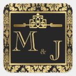 Sello romántico de oro del sobre del art déco calcomanías cuadradas personalizadas