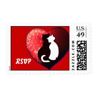 Sello romántico de RSVP de los gatos