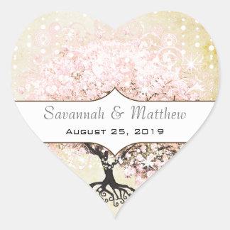 Sello romántico del boda del árbol del rosa de la pegatina en forma de corazón