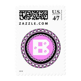 Sello rosado adornado de la letra B del monograma