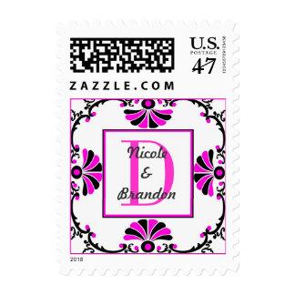Sello rosado adornado de la letra D del monograma