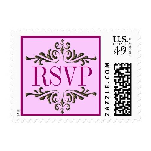Sello rosado adornado de RSVP