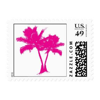 Sello rosado de la postal de la palmera