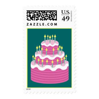 Sello rosado de la torta de cumpleaños