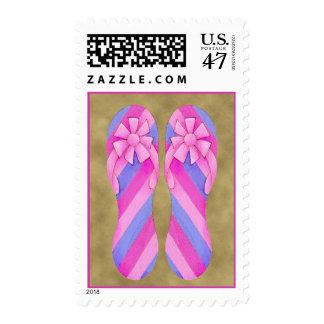 Sello rosado de las rayas del flip-flop