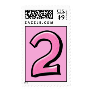 Sello rosado de los números 2 tontos