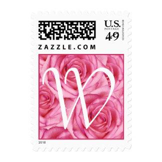 Sello rosado de los rosas de la letra W del
