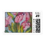 Sello rosado de los tulipanes