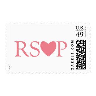 Sello rosado del corazón de RSVP