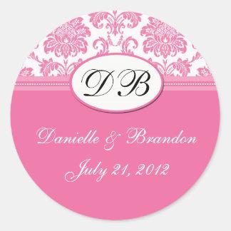 Sello rosado del damasco del monograma del boda pegatina redonda