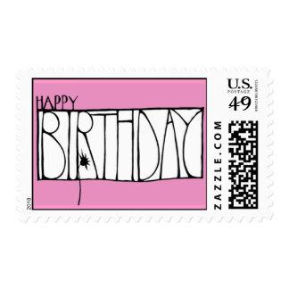 Sello rosado del feliz cumpleaños