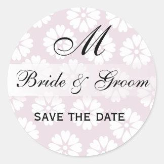 Sello rosado del monograma del boda de las flores pegatina redonda