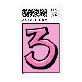 Sello rosado del número 3 tontos