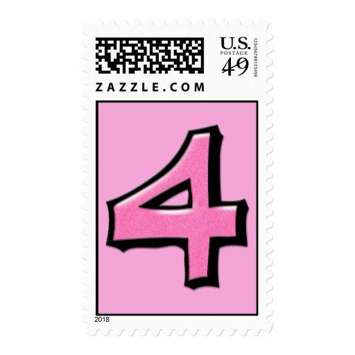 Sello rosado del número 4 tontos