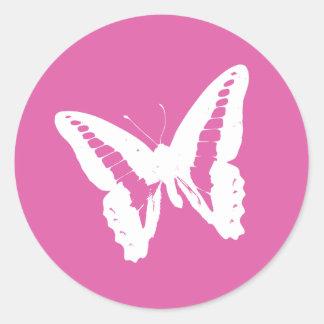 Sello rosado del pegatina del sobre de la mariposa
