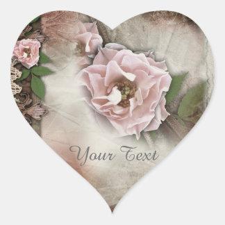 Sello rosado del regalo de boda de los rosas del pegatina en forma de corazón