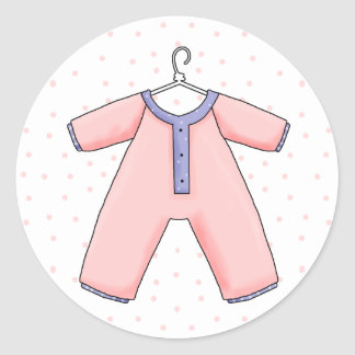 Sello rosado del sobre de la ducha de la niña de pegatina redonda