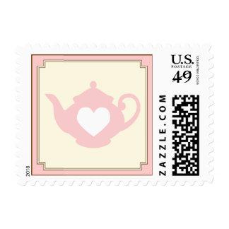 Sello rosado dulce de la fiesta del té de la