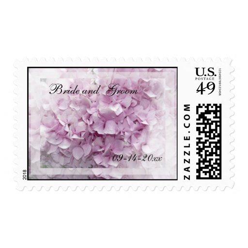 Sello rosado suave del boda del Hydrangea