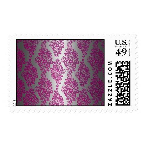Sello rosado y de plata de la impresión floral