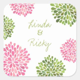 Sello rosado y verde del pegatina del boda de la