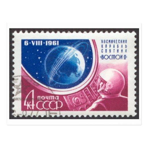 Sello ruso 4K de comandante Titov Vostok 2 de la p Tarjeta Postal
