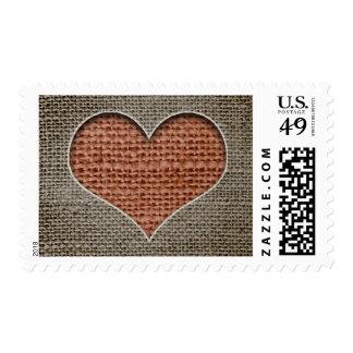 sello rústico del corazón del amor de la arpillera