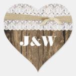 Sello rústico del sobre de madera y del boda del c pegatinas corazon