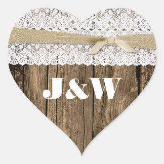 Sello rústico del sobre de madera y del boda del pegatina en forma de corazón