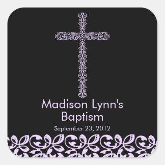 Sello santo del favor del bautismo de la cruz calcomanía cuadradas