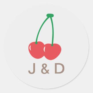 Sello simple del boda de la cereza dulce etiquetas redondas