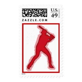 Sello simple del jugador de béisbol del tema rojo