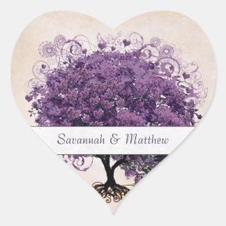 Sello simplemente amelocotonado del boda del árbol pegatina en forma de corazón