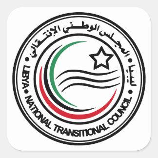 sello transitorio del consejo de Libia Pegatina Cuadrada
